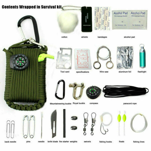 29 in 1 Outdoor Camping Emergency Survival Kit Bag EDC SOS Tactical Tool Set USA