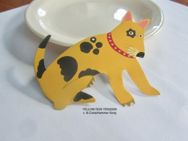 RETIRED B. CUKLA HAMMER SONG YELLOW DOG SPOTS PUPPY ORNAMENT hand ptd cut TIN