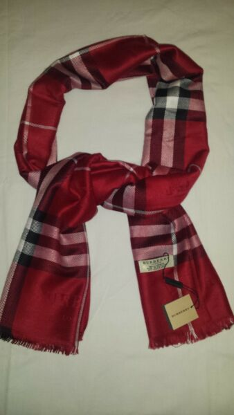 New Woman Burberry Scarf Col.Red Made In Scotland 180x70cm. $75.00
