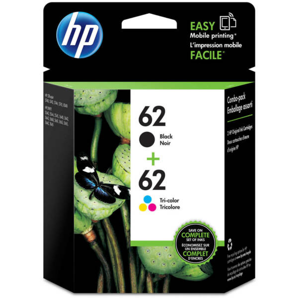 HP #62 Combo Ink Cartridges 62 Black amp; Color NEW GENUINE