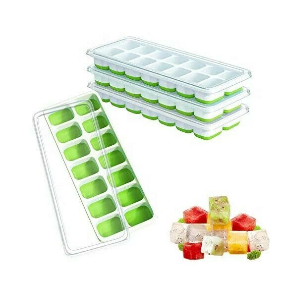 ChefRomio 4 Premium Silicone Ice Cube Trays with Lid 100% BPA Free 56 cubeGreen $11.99