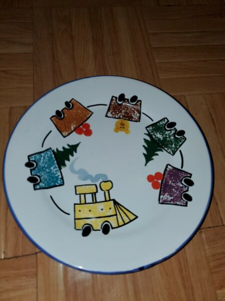 Hand Painted For Starbucks Italy Ceramic Train Theme Christmas 8quot; Plate