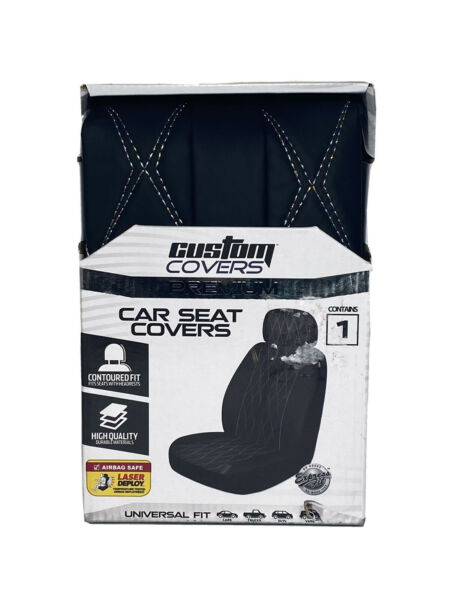 Custom Covers Car Seat Covers Contains 1 Protector Black Universal Fit $19.95