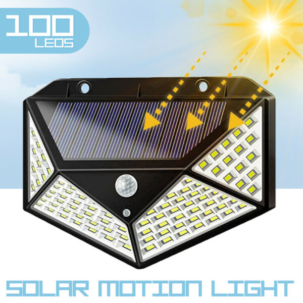 100 LED Solar Power PIR Motion Sensor Light Outdoor Security Garden Waterproof $9.99