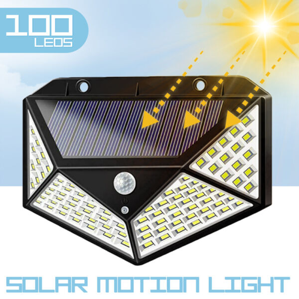 100 LED Solar Power PIR Motion Sensor Light Outdoor Security Garden Waterproof