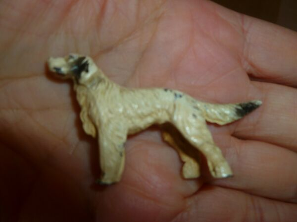 Vintage Small Metal Dog Setter Pointer Cream amp; Black 2 1 4quot; Hunting Dog $9.99