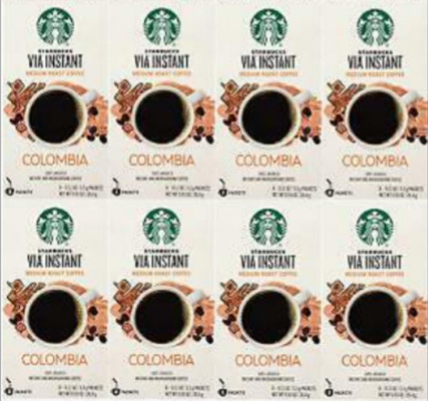 STARBUCKS COFFEE COLOMBIA VIA Instant Medium Roast 64 Packets *Best by 11 2019*
