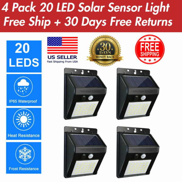 4 Pack 20 LED Solar Power Light PIR Motion Sensor Security Wall Lamp Outdoor