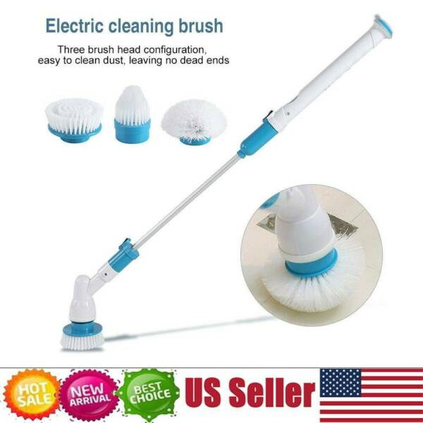 3 Heads Electric Spin Scrubber Cleaning Brush Bathroom Floor Tiles Clean Tool US
