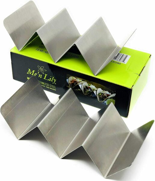 Me#x27;n Lily Stainless Steel Taco Holders Set of 2 Holds 3 Tacos Each $10.99