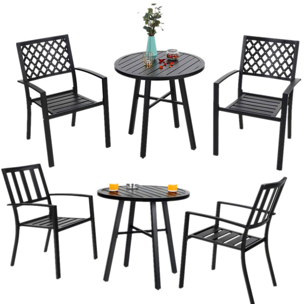 Outdoor Table Chair Set of 3 Metal End Table Stackable Chair Patio Furniture Set $177.99
