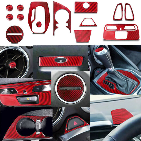 For Chevrolet Camaro Red Carbon Fiber Interior Accessories Whole Kit Cover 16 20 $71.14