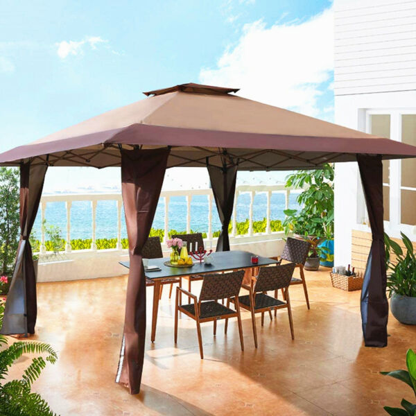 Gazebo Awning Pop up Outdoor Canopy Tent For Patio Garden Party Wedding 13x13ft