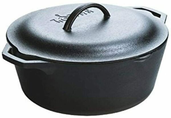 Lodge Pre Seasoned Dutch Oven With Loop Handles and Cast Iron Cover 7 Quart