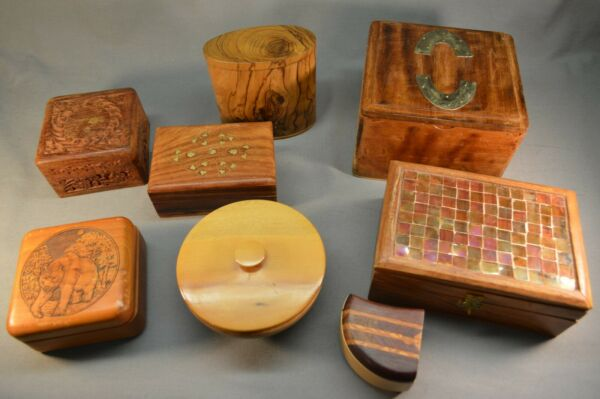 Box Lot of 8 Old Vintage Boxes Hand Made Indian USA Stamp Box amp; Coasters