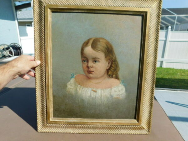 Early Vintage Antique American Folk Art Oil Painting Young Girl Portrait