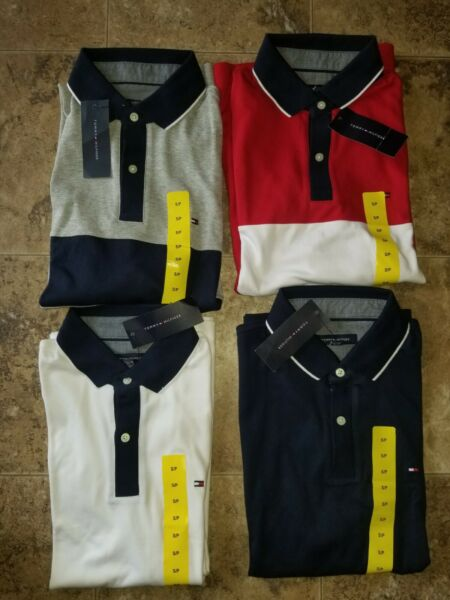Mens Tommy Hilfiger Polo Shirt Short Sleeved Red Blue Gray White $17.56