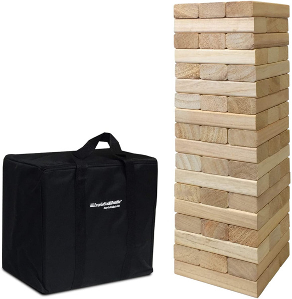 EasyGoProducts 54 Piece Large Wood Block Stack amp; Tumble Tower Toppling Blocks amp;