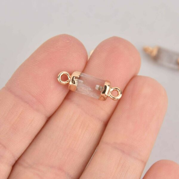 2 Quartz Connector Charms Hex Column with Gold Plating 20x6mm chs7392