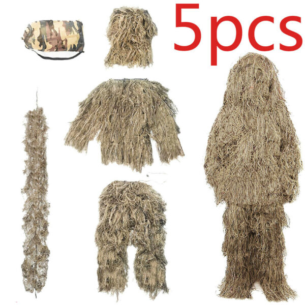Kid Adult 5 in 1 Ghillie Suit Tactical Camouflage Sniper Woodland Desert Hunting