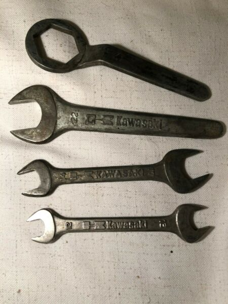 Set of 4 Vintage Kawasaki Box amp; Open End Wrenches 22mm 17x14 13x12 32mm Mito $20.00