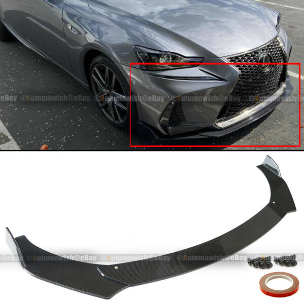 For 17 20 IS300 IS350 JDM CS Style 3 PCS Carbon Painted Front Bumper Lip Kit