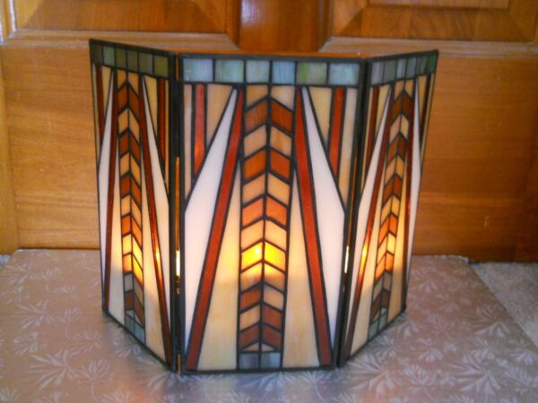 EUC PartyLite Stained Glass Artisan Tealight Screen Tealight Holder No Box