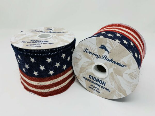 TOMMY BAHAMA Wired Edge Burlap Ribbon **LOT OF 2 ROLLS** American Flag 10 Yards