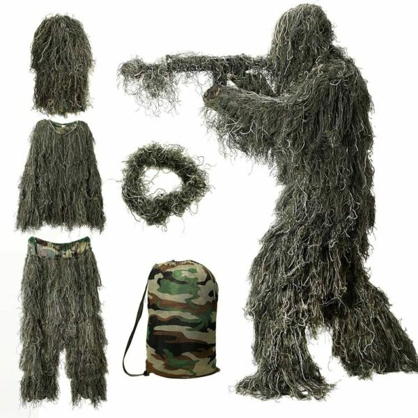 Ghillie Suit 3D Camouflage Hunting Apparel for KIDS w camo bag