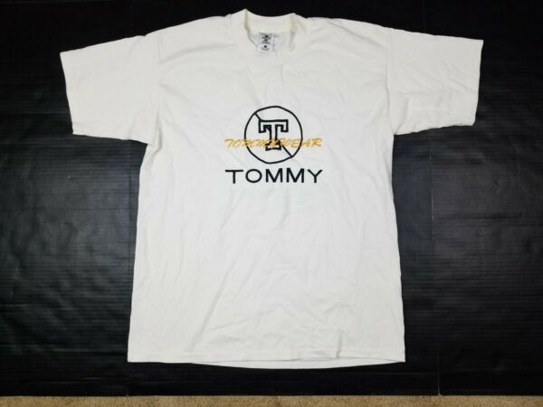 Vtg 90s Tommy Wear Hilfiger Bootleg Embroidered Spell Out T Shirt Adult L $12.74
