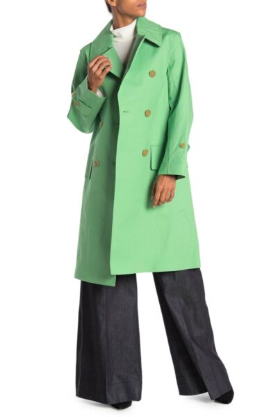 Burberry Green Notch Collar Double Breasted Trench Coat sz 14 US $674.00