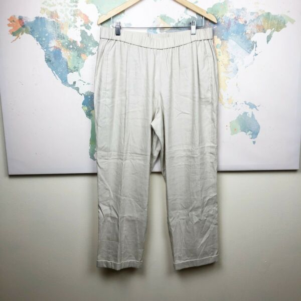 J. Jill Linen Stretch Pants Size Large Petite LP Beige Pull On Linen Blend NWT $35.99