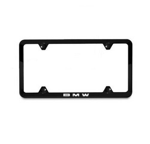 BMW OEM Black Stainless Laser Slimline License Plate Frame SINGLE 82120042710