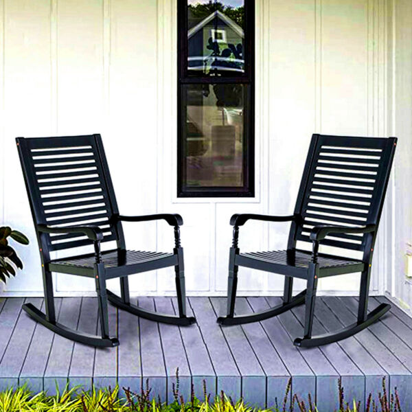 Outdoor Rocking Chairs set of 2 Acacia Wood Patio Chair for Deck Balcony Porch