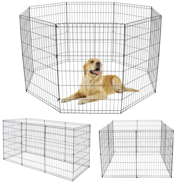 36 Inch 8 Panels Dog Playpen Tall Large Crate Fence Pet Play Pen Exercise Cage