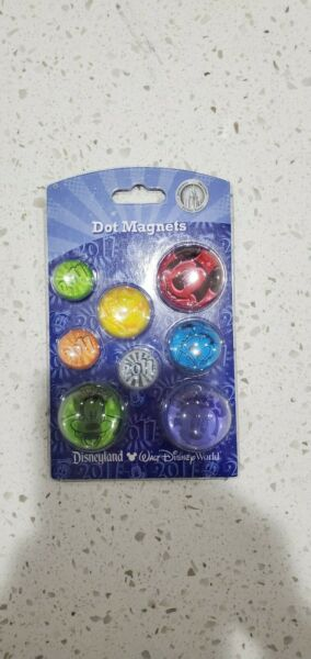 DISNEY Disneyland 2011 Retro Design Button Bubble Dot Magnets $14.95