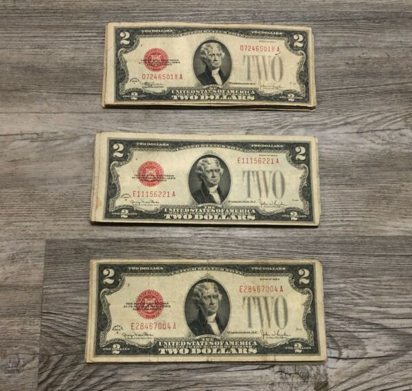 ✯Rare 1928 Two Dollar Note Red Seal ✯$2 Bill G AU✯Old Paper Estate Lot Currency✯