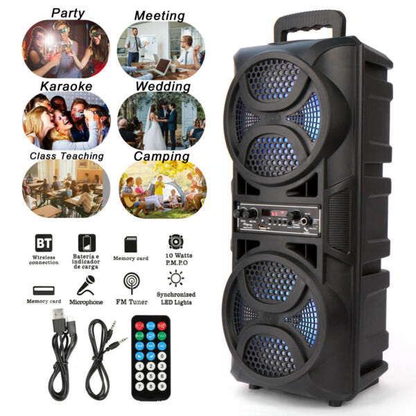 Dual 6.5quot; Woofer Portable BT Party Speaker Heavy Bass Sound Remote FM LED Light