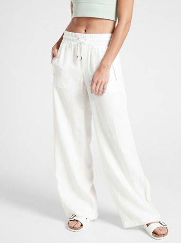 Athleta Cabo Linen Wide Leg Pant Calla Lily 8 Medium M $39.00