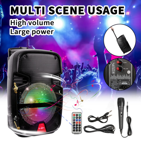 4400 Watts Wirelessly Portable Party Bluetooth Speaker With Microphone amp; Remote $49.99
