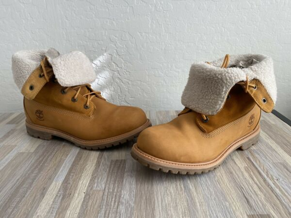Women#x27;s Timberland Jayne Leather Fold Down Lined Boots SIZE 10 Medium $99.99