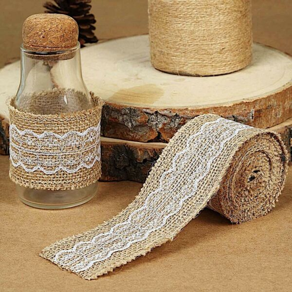 16 ft NATURAL WHITE Burlap Ribbon with Lace Party Wedding DIY Gifts Craft Favors
