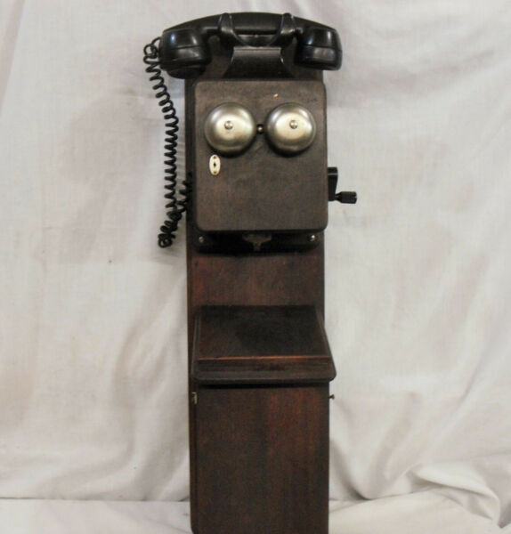 Oak Two Box Phone Old Wood Two Story 1916 1932 Telephone with Magneto