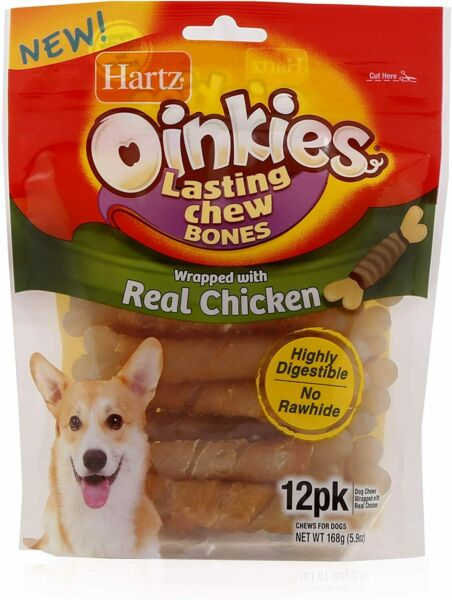Oinkies Chicken Wrapped Lasting Chew Bone Dog Treats 12 Pack $9.35