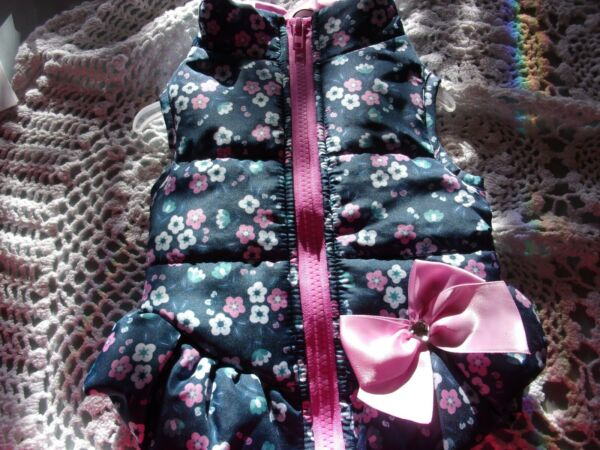 Blue Pink FLORAL Bomber Jacket Dog XS S M Simply Wag new pet coat medium xsmall $26.74