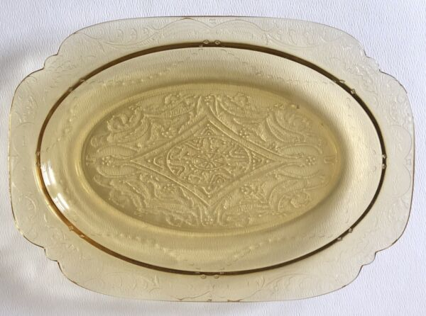 Vintage Federal AMBER DEPRESSION Glass MADRID Platter Yellow Oval Serving Plate