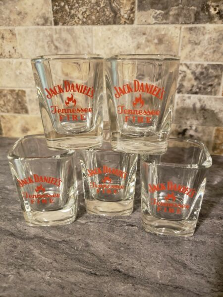 Set of 5 Jack Daniels TENNESSEE FIRE Square Shot Glass Barware Collectible