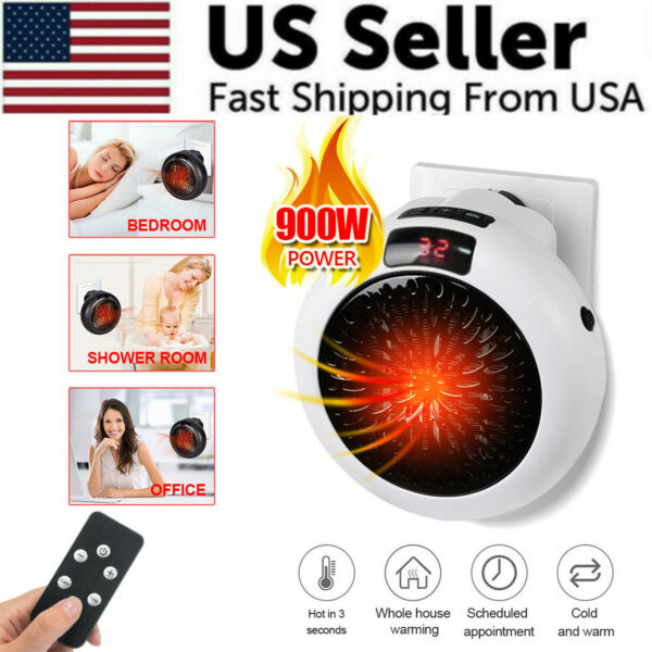 900W Portable LED Digital Electric Heater Wall Sockets Mini Fan With Timer Home $20.59