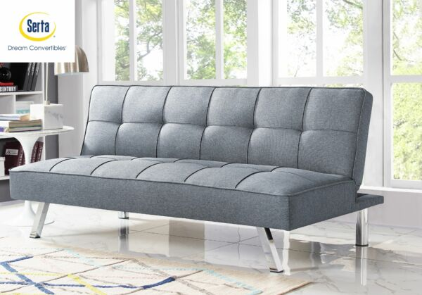 Serta Chelsea 3 Seat Multi function Upholstery Fabric Futon Sofa Bed Light Gray