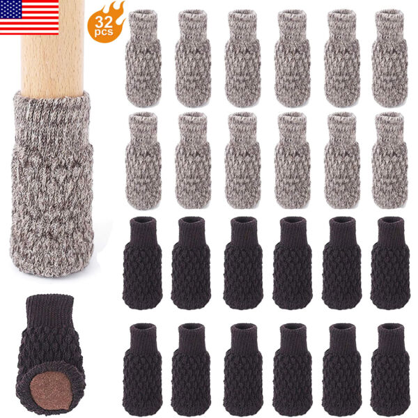 32PCS Chair Leg Socks Knitted High Elastic Furniture Floor Protector Pad Nonslip $15.29